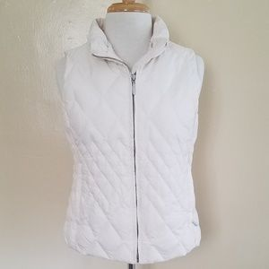 Eddie Bauer Goose Down Puffy Vest. White.